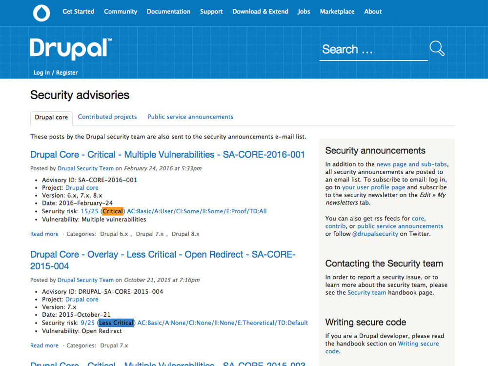 Screenshot of Drupal security updates page