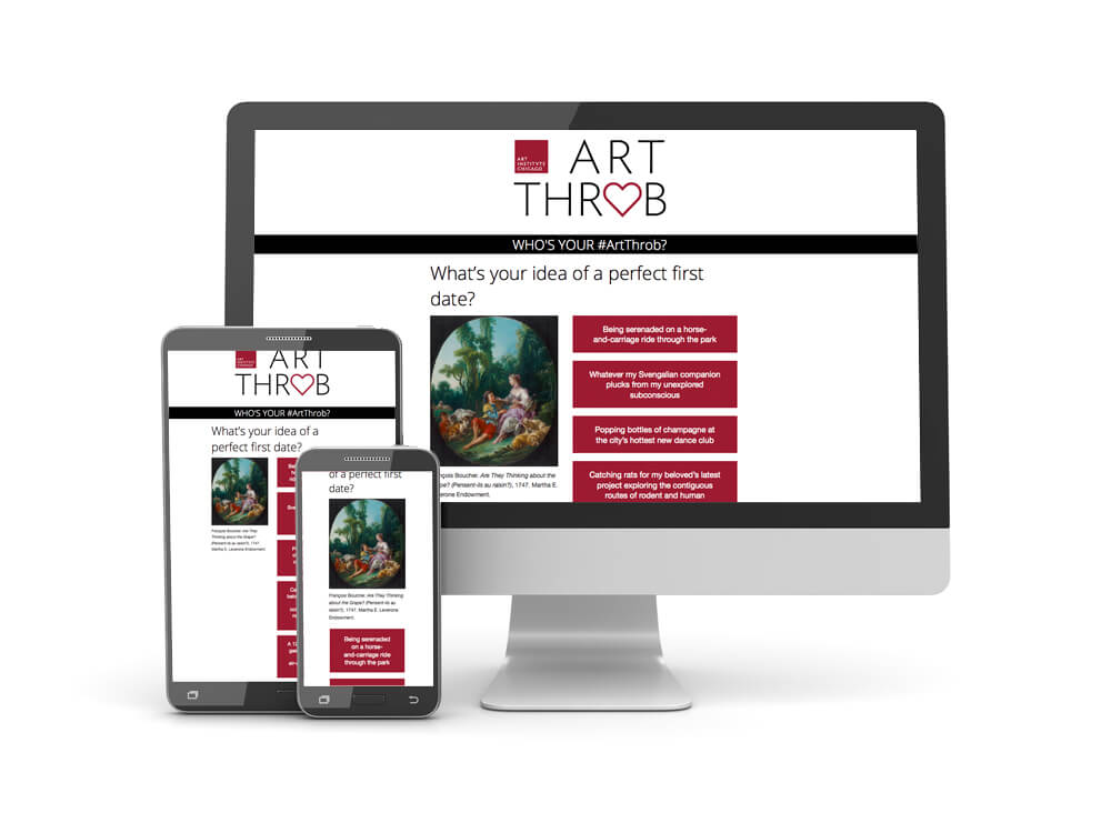 Examples of responsive layout for Who's Your ArtThrob quiz